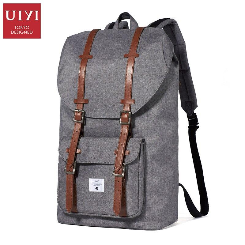 ФОТО UIYI Canvas Men Backpack Casual Daypacks Grey Black Backpack School Bag Teenagers Vintage Men backpacks #UYB7005