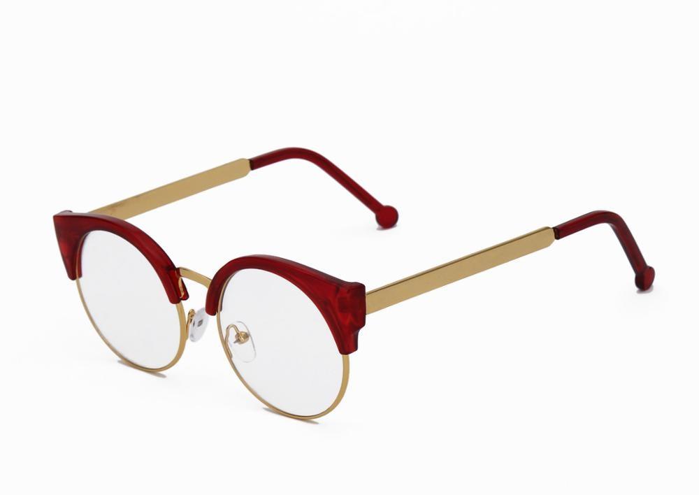 Женские простые очки кошачий глаз, полуоправа, прозрачные линзы, круглые очки, сексуальные винтажные очки кошачий глаз, оправа, брендовые дизайнерские очки - Цвет оправы: Red