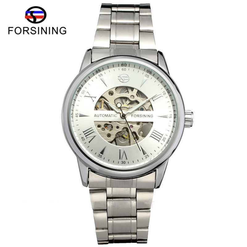 FORSINING Skeleton Automatic Mechanical Watch Men Stainless Steel Band Mens Watches Silver/Gold Simple Clock 2017 New Arrival wholesale wilon mens stainless steel mechanical skeleton watch