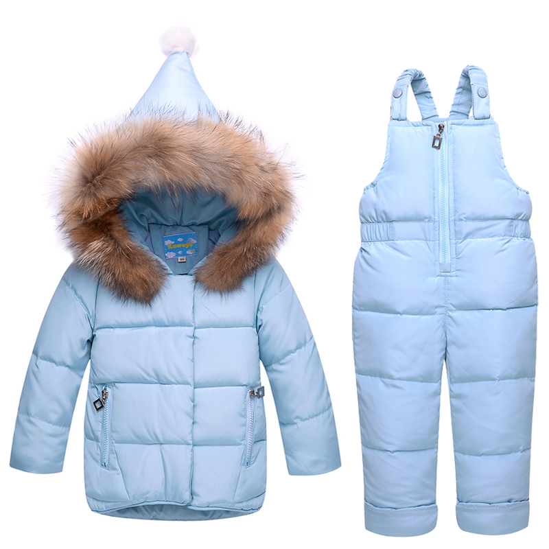 Russia Winter 2~4T  Baby Girl Clothes Girls Down Clothing Set with Real Animal Fur Jackets Pant Sets Warm Thick Coat for Kids 2016 winter boys ski suit set children s snowsuit for baby girl snow overalls ntural fur down jackets trousers clothing sets
