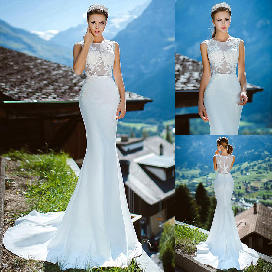 Romantic O Neckline See through Mermaid Wedding Dress With Lace Appliques Illusion Back Mermaid Bridal Dress