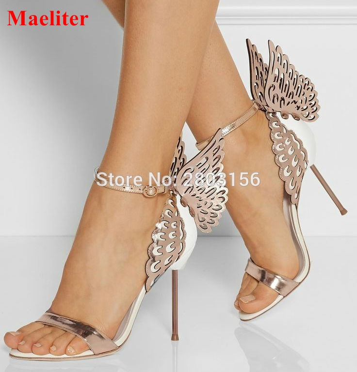 Hot Selling Butterfly Wings Women High Heels Summer Shoes Sandals Fashion Open Toe Ankle Strap Shoes Woman 2017 butterfly wings leather summer sandals women thin high heels pumps bowtie open toe buckle ankle strap wedding shoes woman