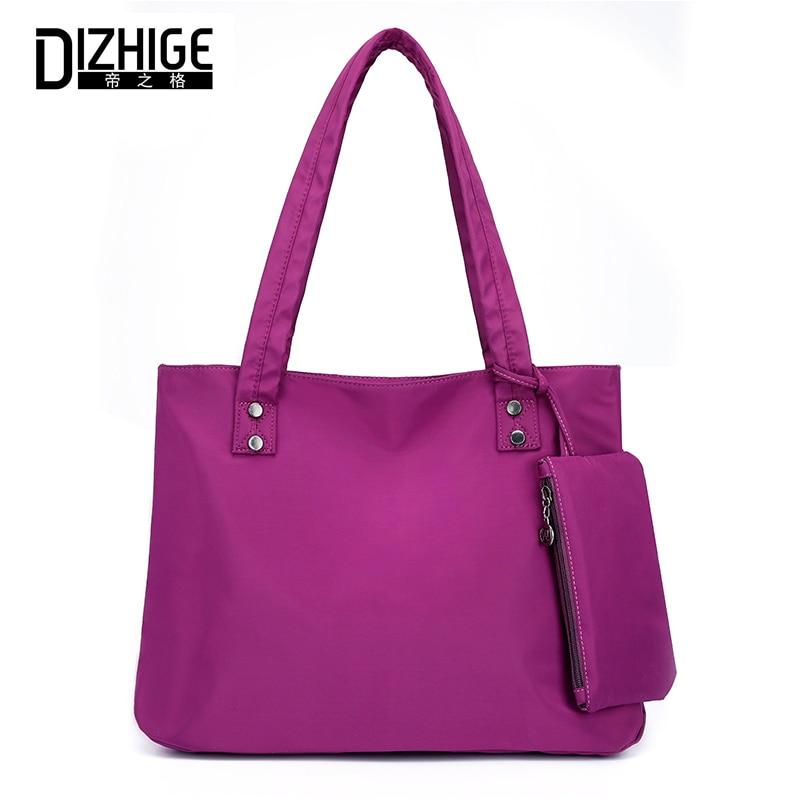 купить DIZHIGE Brand 2PC/Set Fashion Shoulder Bag Women Large Capacity Luxury Handbag For Women Solid Nylon Shoulder Bags Tote 2018 New по цене 923.41 рублей