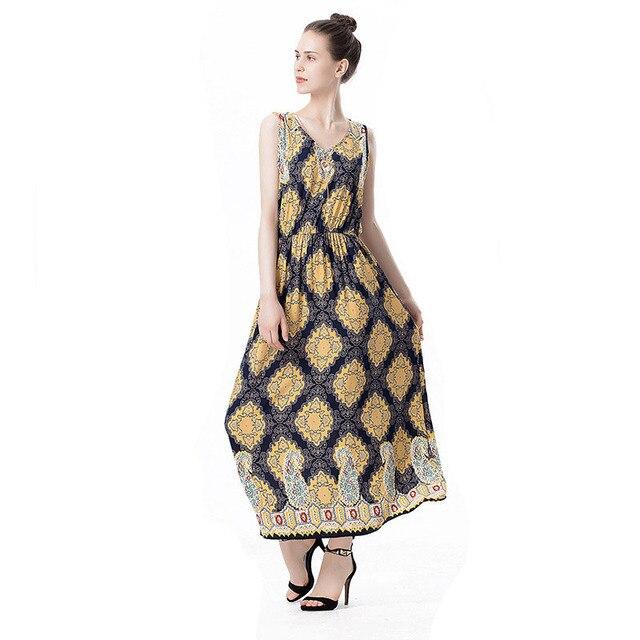 Summer New 19th Century Dress Cashew Nuts Floral V Neck Sleeveless Long  Dress Vintage Big Wing Shift Dresses Retro Vestido Longo d5326453e20a