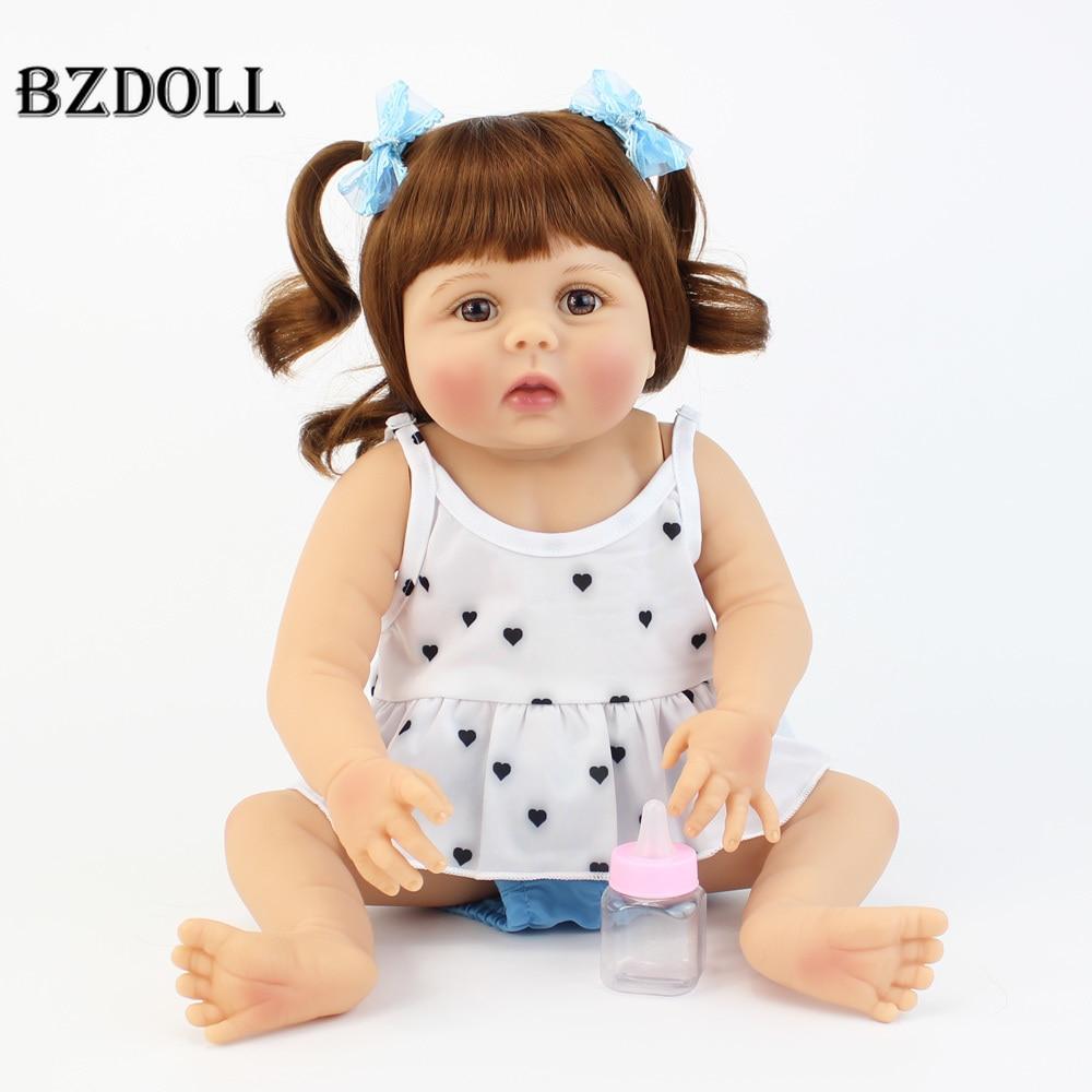 55cm New Full Silicone Reborn Baby Doll Toys For Girls Boneca Vinyl Newborn Toddler Bebe Alive