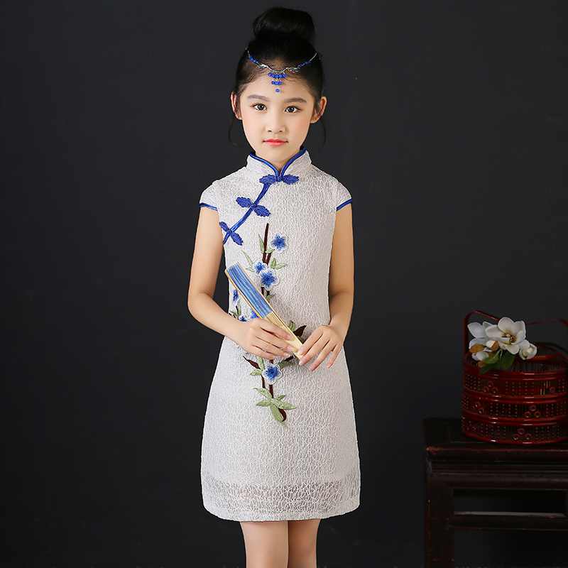 цены 2017 autumn elegant floral peacock kimono cheongsam kids baby child dress chinese qipao girls dress