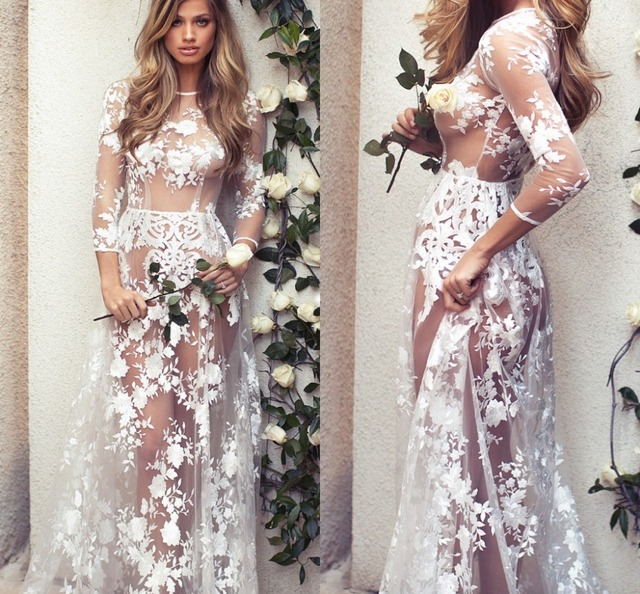 52f9603609f 2019 Maternity Sexy O-neck Glamour See-through Hollow Lace Long Maxi Dress  Beach Dress Boho Dresses Vestidos Mujer Plus Size
