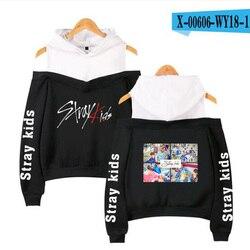 Korean Fashion KPOP Stray Kids Hoodie Women Long Sleeve Off-Shoulder Hooded Sweatshirts Harajuku Tracksuit Streetwear Clothes 2