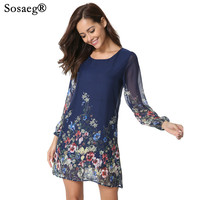 Sosaeg High End Long Sleeve Lady Party Sexy Dress Flowers Plants Perspective Autumn Women And Girls