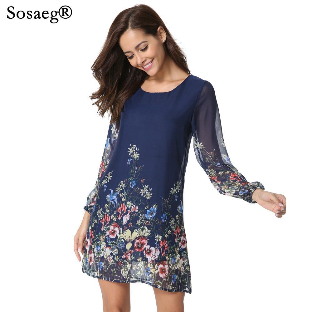 Sosaeg High-end Long Sleeve Lady party sexy Dress Flowers Plants Perspective Autumn Women and girls summer beach print dresses