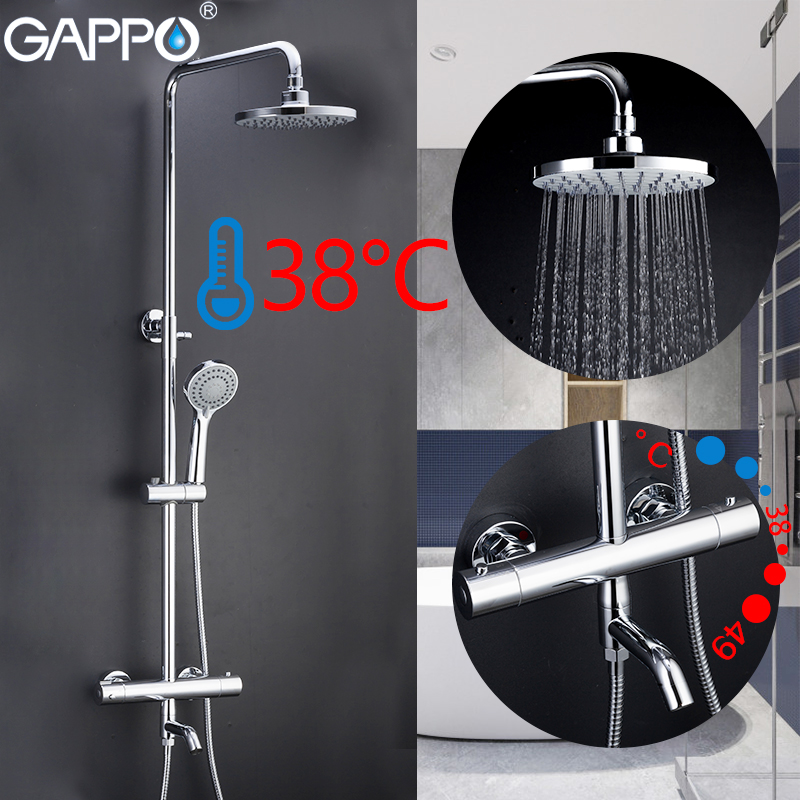 GAPPO Shower Faucets Thermostatic Bathroom Shower Faucet Bath Shower Mixer Waterfall Rain Shower Head Set Bathtub Faucet Tap