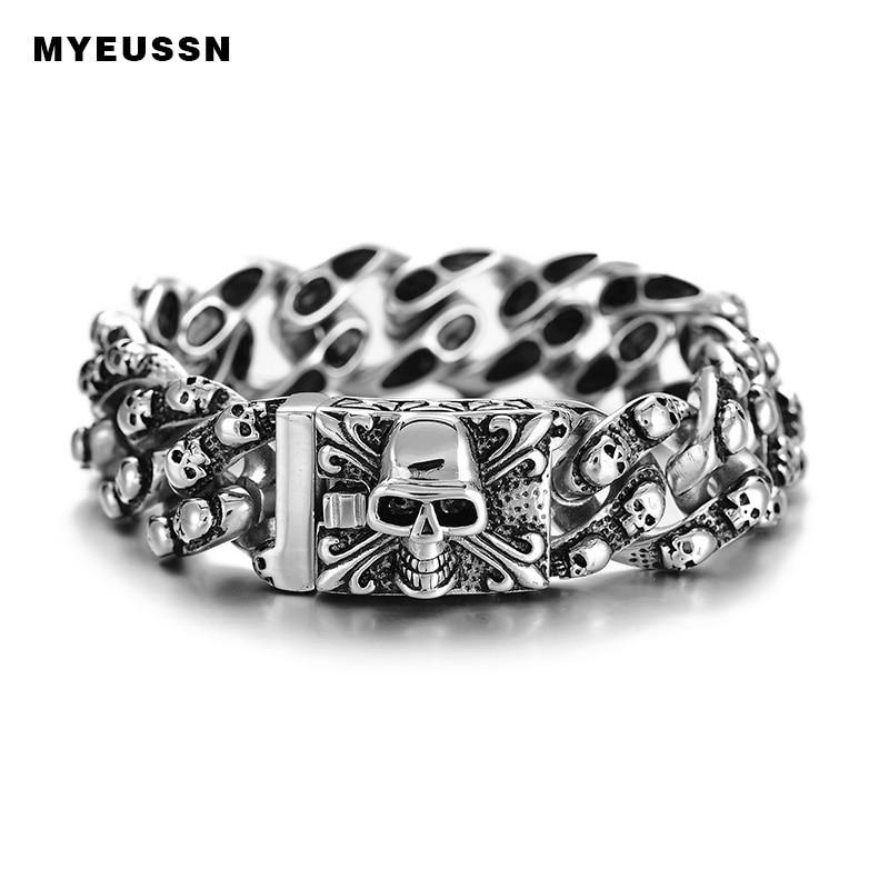 Punk Style Several Skull Skeleton Bracelet 316L Stainless Steel Big Skull Clasp Cool Bracelet For Men Father's Day Hip Hop Gift