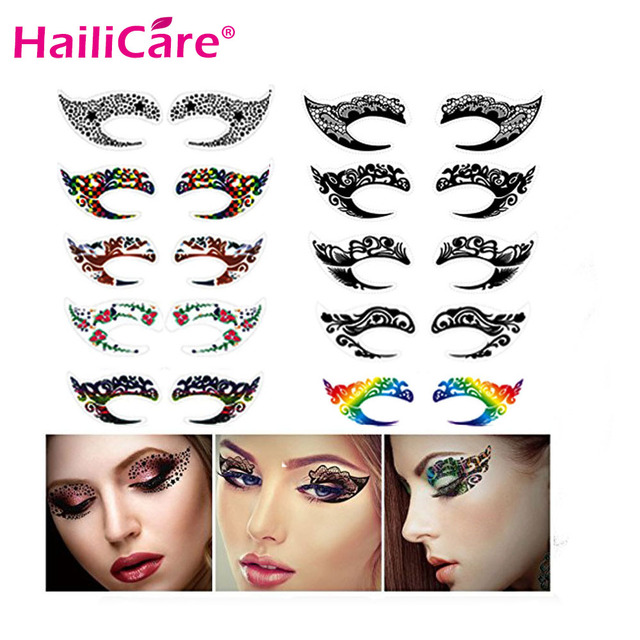 10 pairs Temporary Eye Tattoo Stickers Waterproof DIY Flash ...