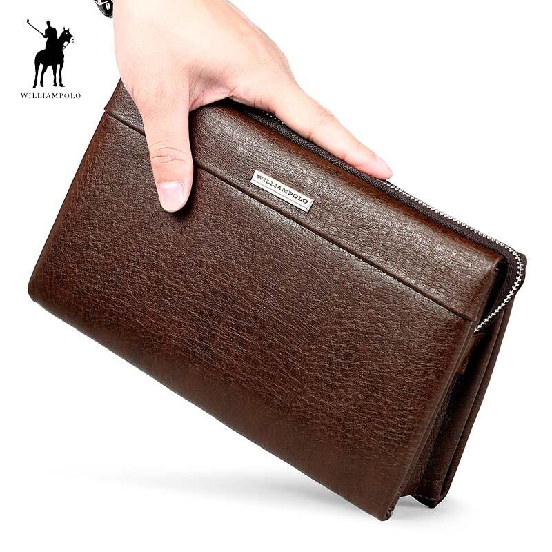 WILLIAMPOLO Brand Genuine Leather Business Clutch Bag Men Fashion Zipper Large Handbag Men Gift Husband Clutches