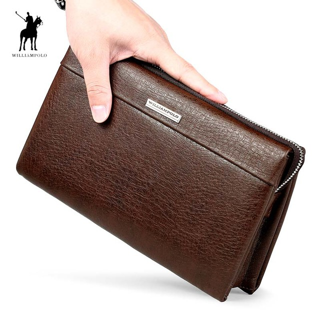 f9acd870bc4 WILLIAMPOLO Brand Genuine Leather Business Clutch Bag Men Fashion Zipper Large  Handbag Men Gift Husband Clutches Brown Black