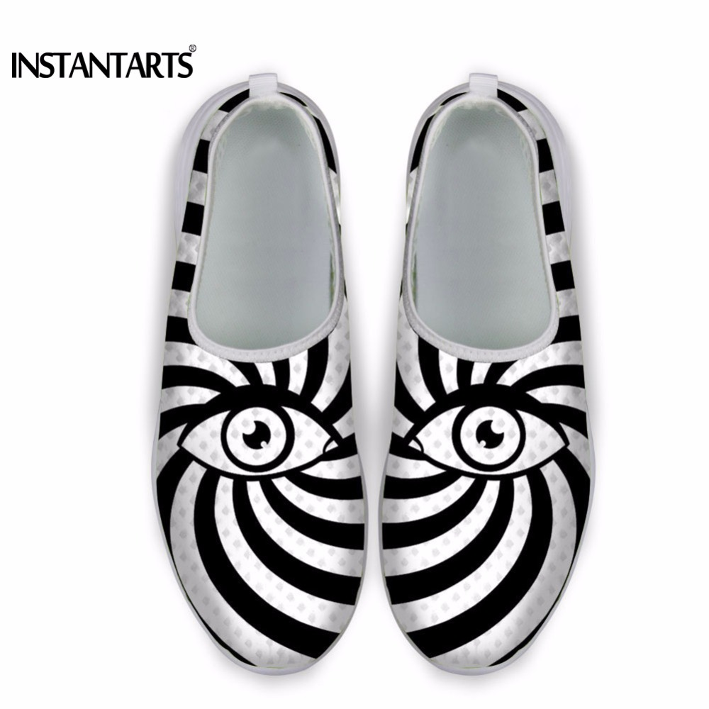 INSTANTARTS Striped Light Summer Mesh Casual Sneakers Shoes 2018 Fashion Designer Women Slip-on Flats Shoes Eye Printed Sneakers instantarts cute glasses cat kitty print women flats shoes fashion comfortable mesh shoes casual spring sneakers for teens girls