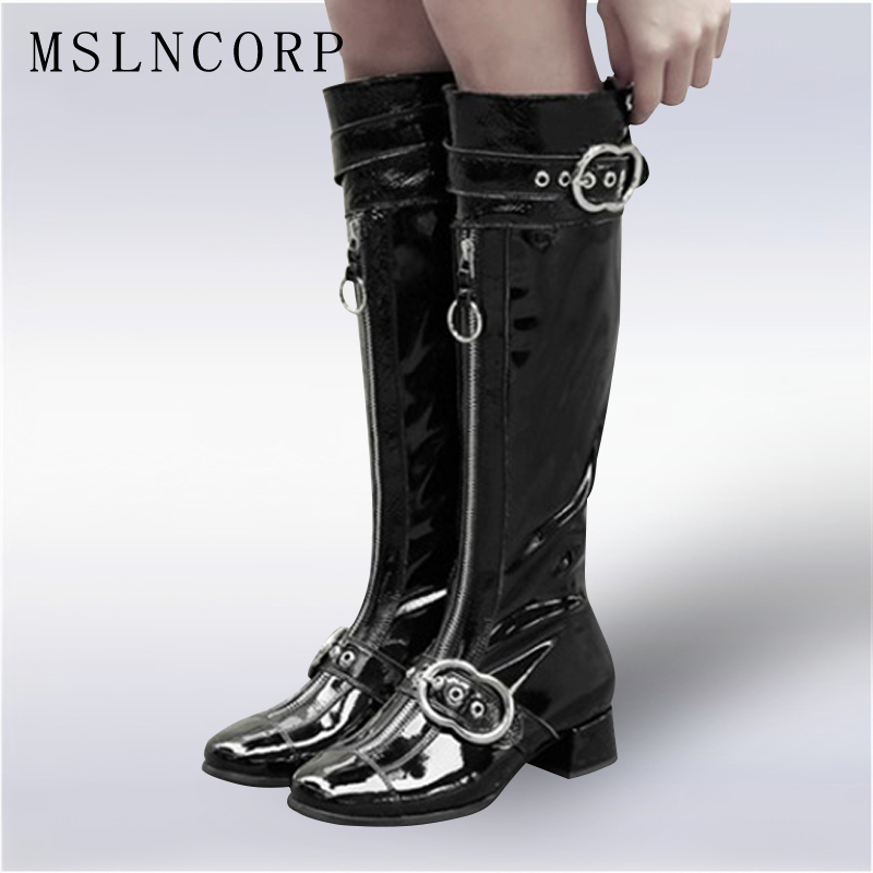 plus size 34-43 High Quality Genuine Leather Knee High Boots Women Patent Leather Long Boots Shoes Zip Buckle Knee High Boots