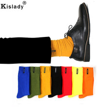 2018 New Men's Fashion Colorful Week Socks Hipster Yellow Green Cool Socks High Thigh Novelty Tube Socks Fall Winter Streetwear(China)