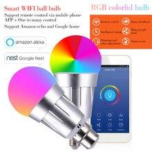 Laideyi 7 Вт E27 B22 E14 умный дом Беспроводной Wi-Fi светодио дный RGB лампы Поддержка Alexa Google дома светодио дный приглушить лампы Smart Wi-Fi затемнения лампы