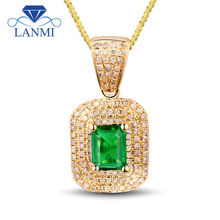 Fantastic 5x7mm Gemstone Pendant Stone Nature Emerald Diamond In 14Kt Yellow Gold For Women Wedding Party Jewelry 2T018