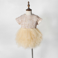 Elegant Champagne Court Wind Baby Girls Princess Dress Infant Birthday Party Clothes Girl 12 Layers Gauze Dresses Summer Fashion