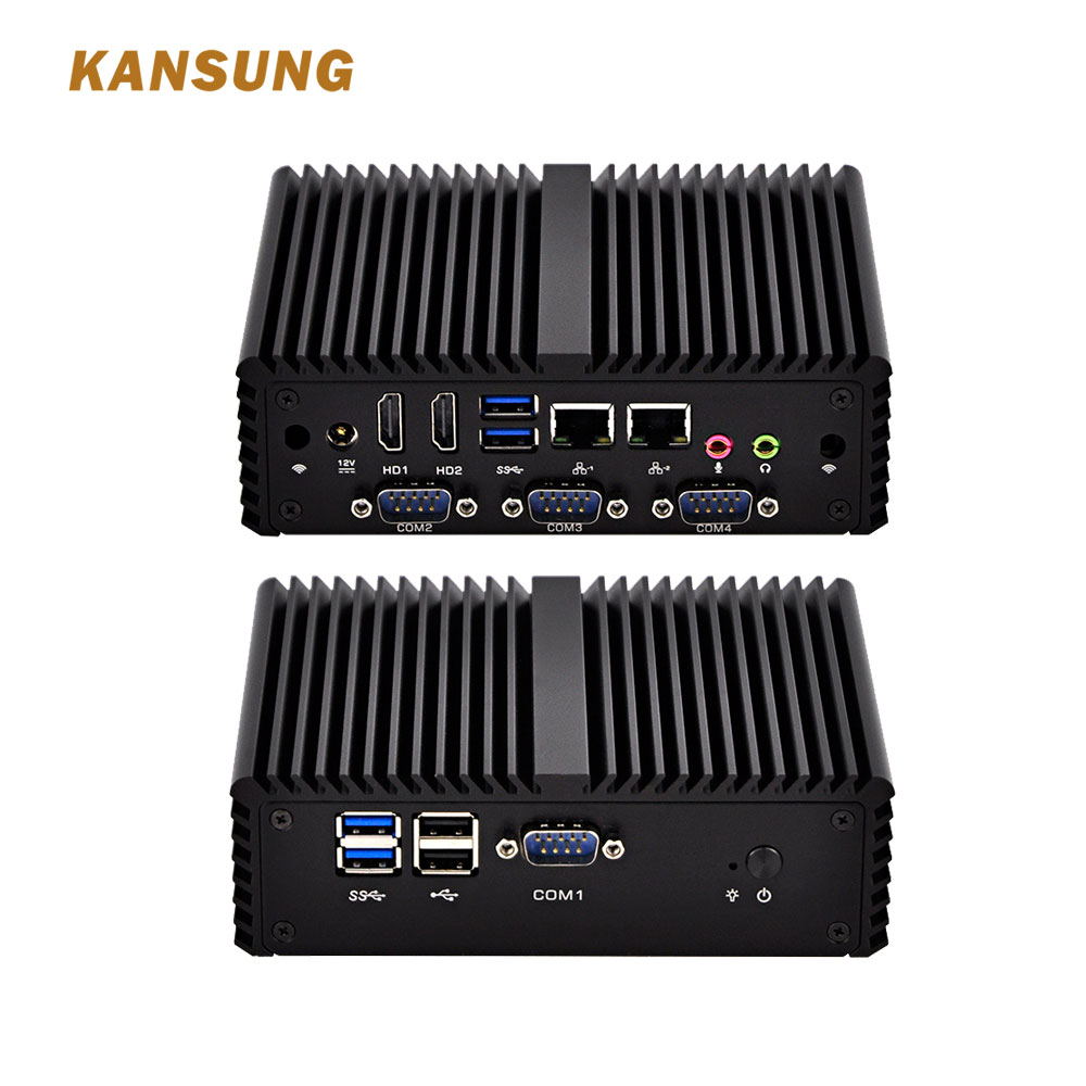 KANSUNG Thin Client 2 Lan Core I5 4200U Industrial Mini PC 4 RS232 COM X86 Fanless Windows Desktop Computer Apply To POS System