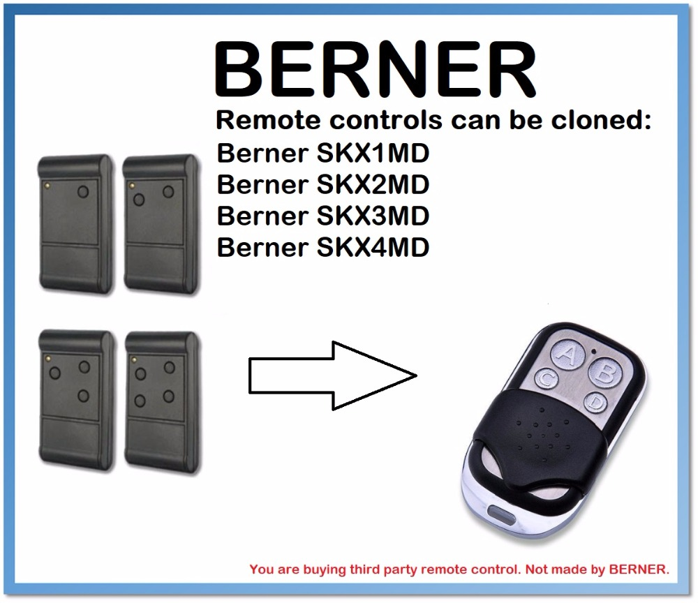 Berner SKX1MD, SKX2MD, SKX3MD, SKX4MD Remote Control Duplicator 4-Channel 433MHz .(only For 433.92mhz Fixed Code)