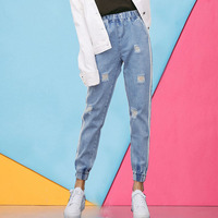 Harajuku Jeans Ripped Women Ankle Long Pants 2017 Autumn Denim Harem Pants Elastic Waist Kpop Side