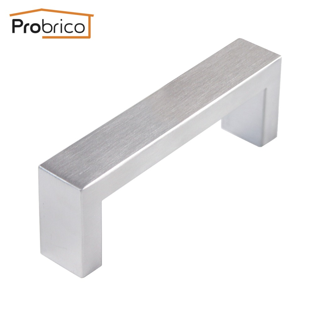 Probrico 10mm*20mm Square Bar Handle Stainless Steel Hole Spacing 96mm Cabinet Door Knob Furniture Drawer Pull PDDJ30HSS96 probrico 10mm 20mm square bar handle stainless steel hole spacing 128mm cabinet door knob furniture drawer pull pddj30hss128