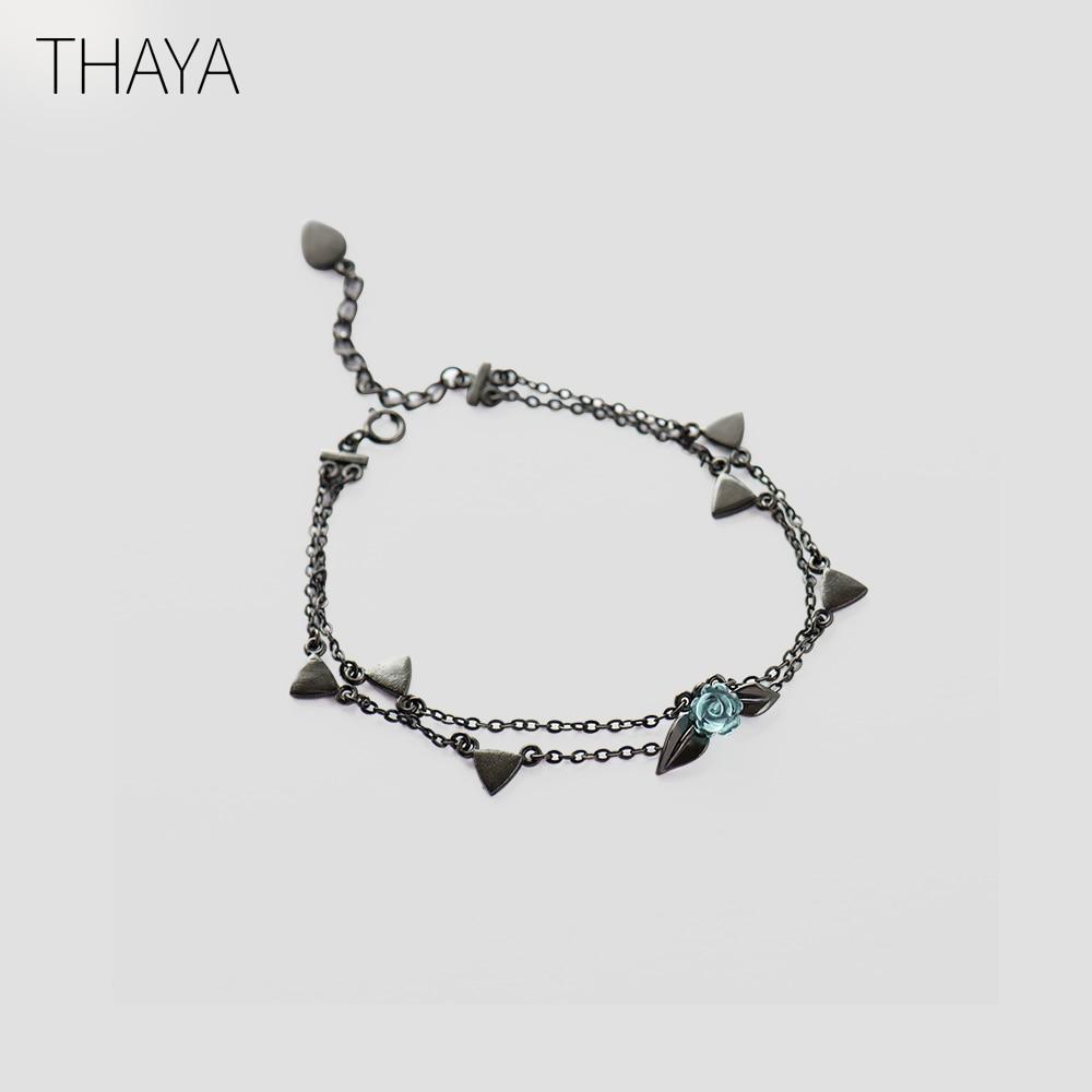 5866536d1d79 Thaya 100% de plata 925 espinas Rosa pulsera de dos capas de cristal ...