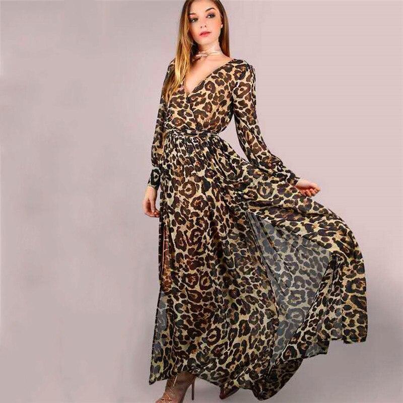 Leopard Long Dress Women Coffee Long Sleeve Dresses 2019 New Spring Autumn Sexy Split V Neck Slim Dress Vestidos Feminina CX07