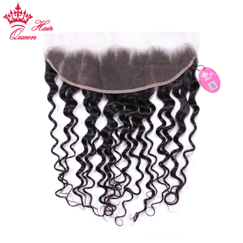 Queen Hair Products Brazilian Natural Wave Lace Frontal Ear to Ear Human Hair Lace Closure Size 13x4 Natural Color Remy Hair