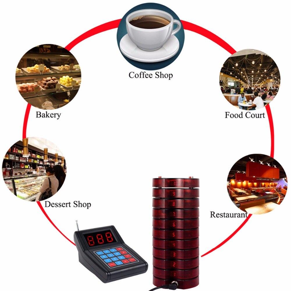 Système d'appel de Restaurant téléavertisseur sans fil système de mise en file d'attente pour invités Beeper 1 transmetteur de clavier + 10 téléavertisseurs - 5