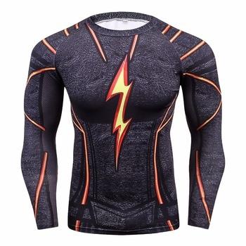 FLASH Compression Shirt Men 3D Printed T-shirts Men Raglan Long Sleeve Cosplay Costume Tops Male fitness body building Clothing