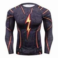 Flash camisa de compressão masculina 3d impresso t-shirts raglan manga longa cosplay traje topos masculino fitness corpo construção roupas