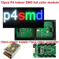 Free shipping 12pcs P4 indoor smd rgb full color led electronic display sign module+2pcs DC5V40A PSU+1PCS video LED controller