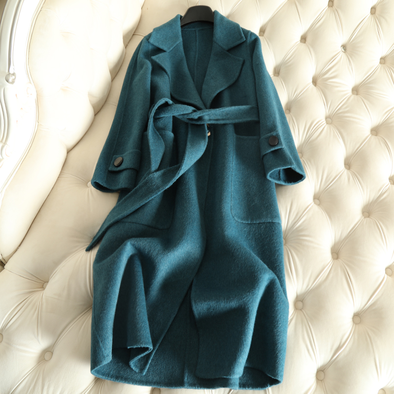 QIAN SI CHEN 19 Autumn New 100% Cashmere Coat Alpaca Warm Winter Coat Women Long Wool Coat Office Lady Slim Female Overcoat 26