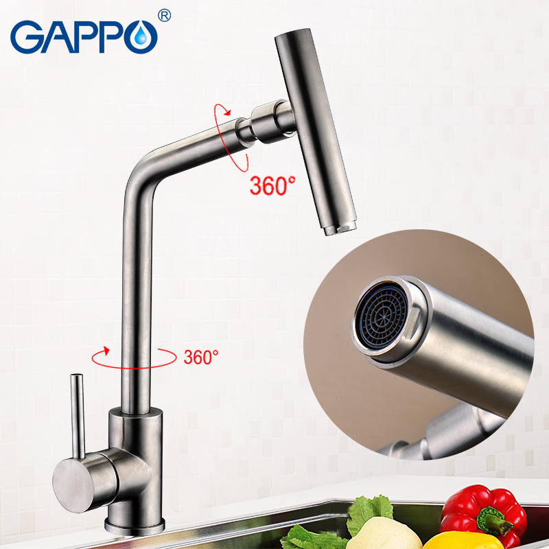 GAPPO Kitchen Faucet Single Handle 360 Degree Swivel Spout Sink Faucets Bathroom Basin Faucet Hot Cold Water Mixer Tap