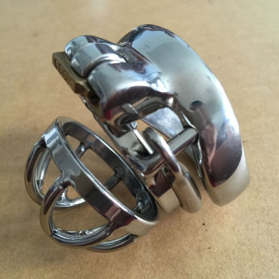 ФОТО Male Chastity Device long 55MM Adult Cock Cage With arc-shaped Cock Ring Sex Toys Stainless Steel Chastity Belt S041-2