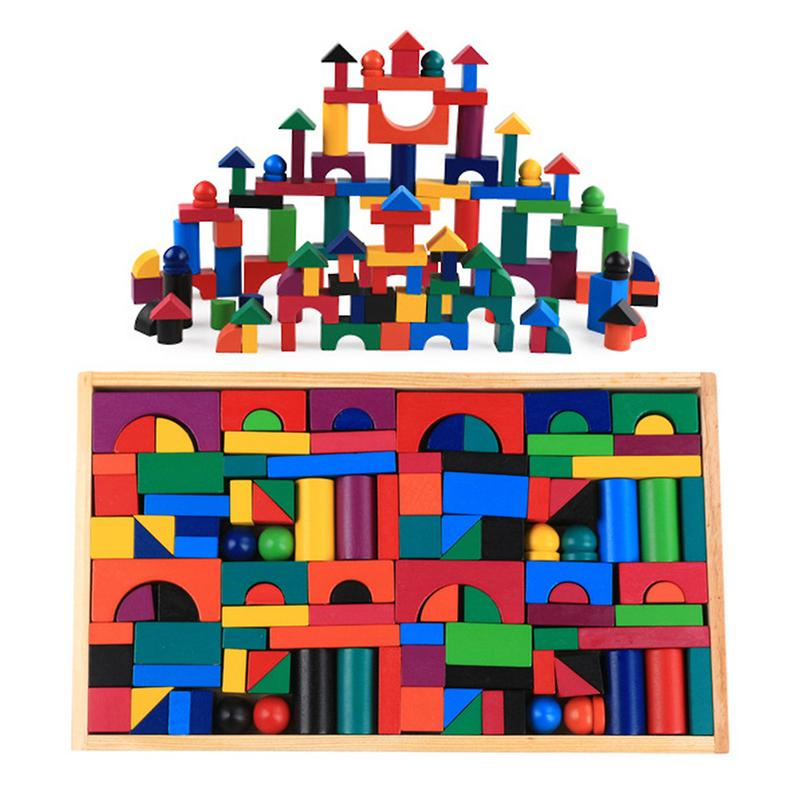 112 Pcs/set Small Wooden Blocks Color Sort  Wooden Constructor Rainbow Wood For Children Kids Games  2-10 Years Old