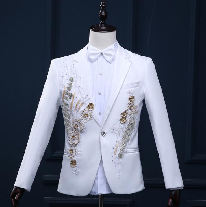 Men Blazer Designs Three-dimensional Flowers Stage Costumes For Singers Men Paillette Blazer Dance Clothes Jacket Style Dress