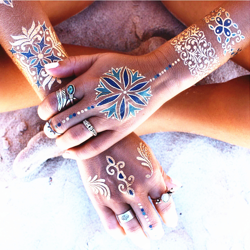 Womens Temporary Tattoos: 16 Sheets Metallic Temporary Tattoos For Party Women Teens