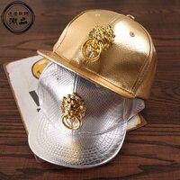 עור PU יוקרה זהב ילדים בייסבול כובעי Snapback כובעים, טבעת משיכה בני בנות מקרית תווים Gorras היפ הופ וכובעים