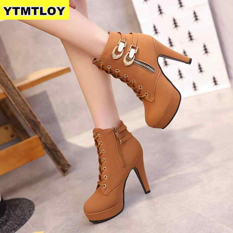 Ladies Shoes Synthetic Leather Platform High Heels Zip Short Boots US Size b147