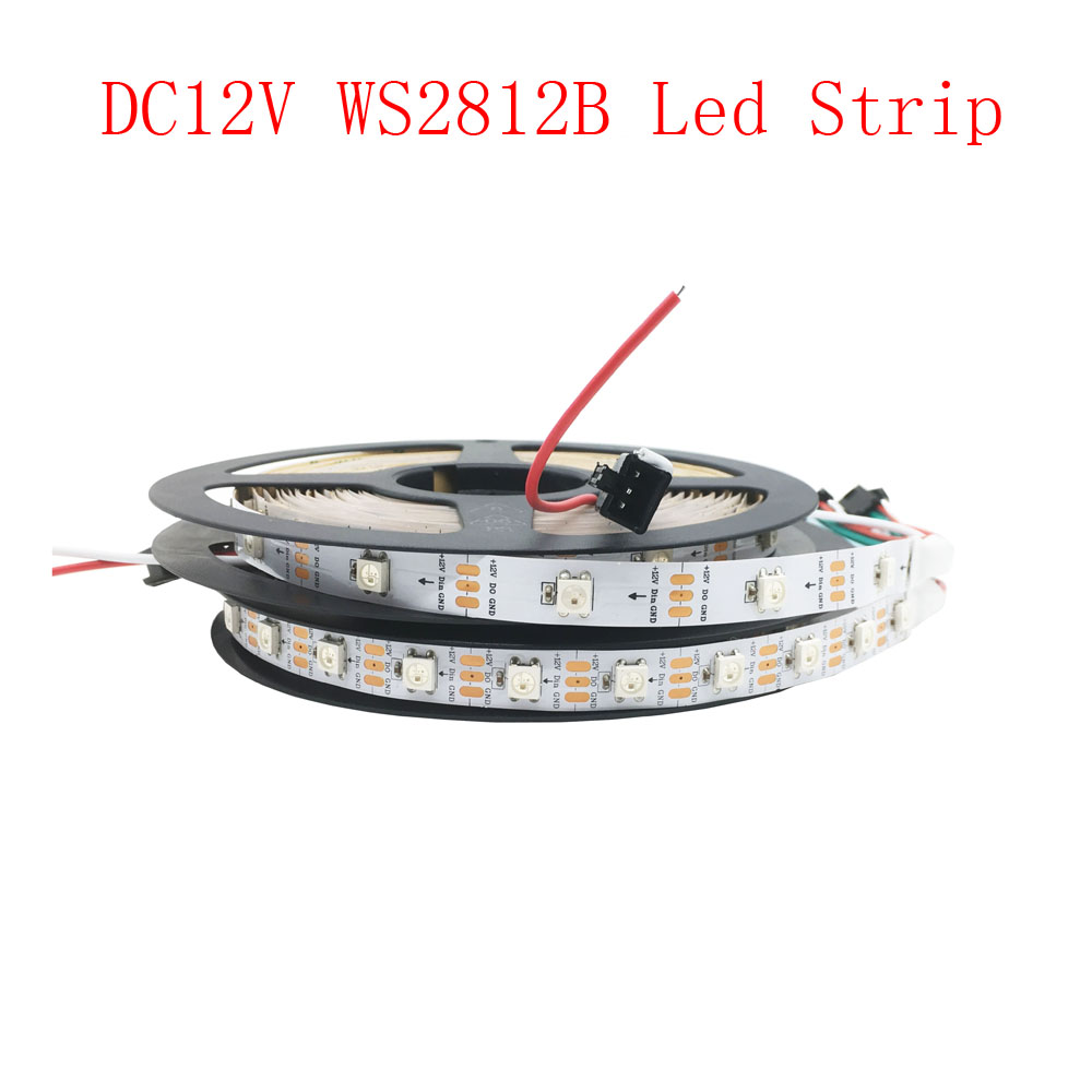 5 M/Roll DC12V WS2812B Led bande blanche PCB IP30 IP67 Point de rupture Transmission continue FlexibleTape lumière ruban RGB lumière Led