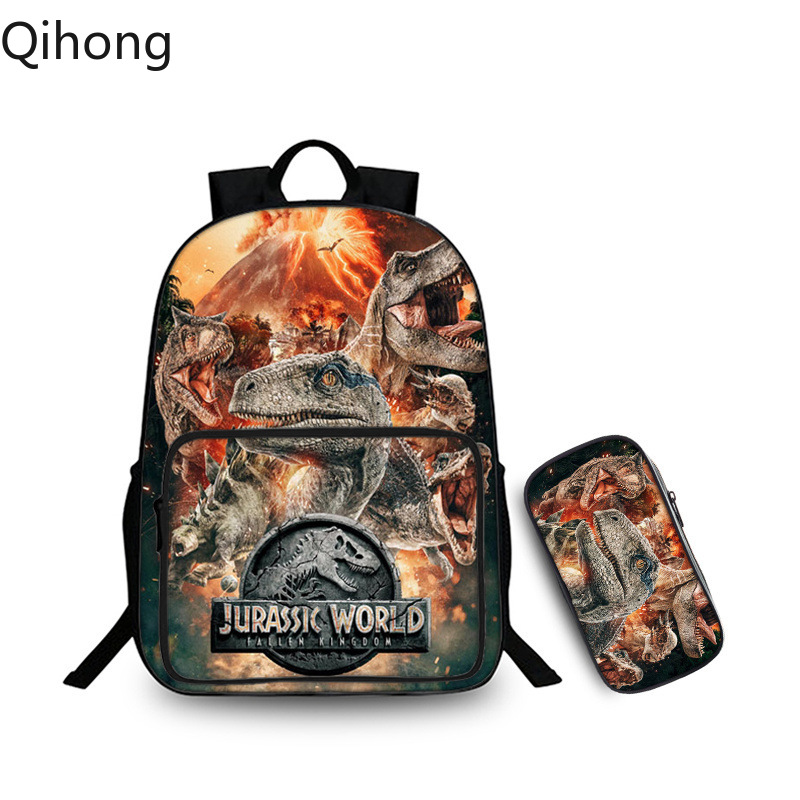 Children's Jurassic World mochila Backpack Jurassic park School shoulder bag travelling laptop bagpack kid's gift Qihong image
