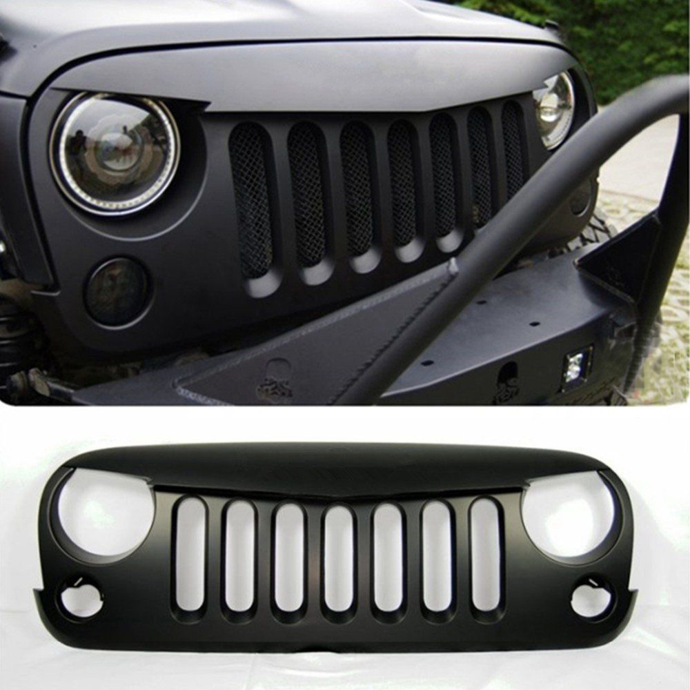 Chuang Qian Angry Birds Front Grille Grid Grill Matte Black For Jeep Wrangler JK 2007-2015 Easy Install Auto Accessories front grill mesh grill insert set cover front grille sticker racing grills trim for jeep wrangler jk 2007 2015