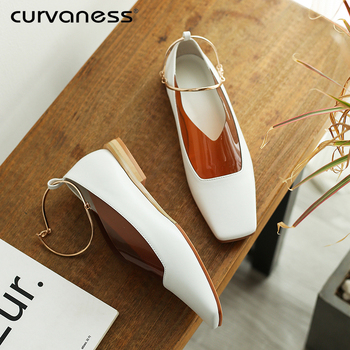 Curvaness Women Patent Leather Shoes OL Loafers Casual Low-heeled Female Sweet Metal Buckle Boat Genuine Leather Shoes
