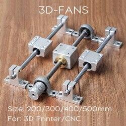 Kits de trilho de guia t8 parafuso de ligação 200/300/400/500mm + eixo óptico + kp08 rolamento + porca de parafuso suporte de montagem para impressora 3d