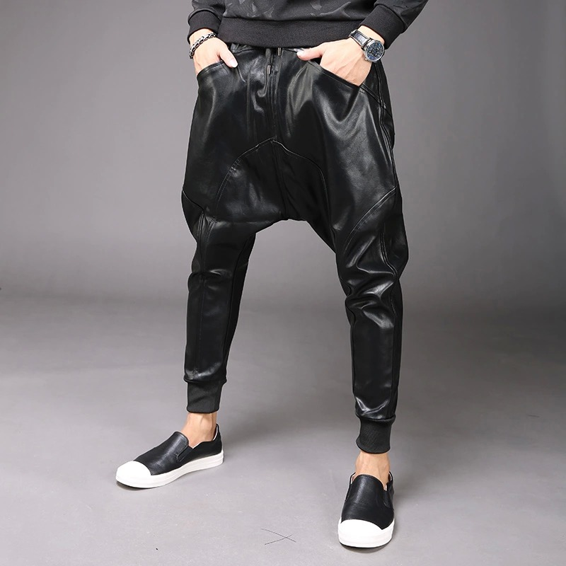 M 6XL nouvelle mode hommes Punk Moto PU Faux cuir décontracté Harem goutte entrejambe pantalon jean rue danse DJ Rock pantalons pantalon M 2XL - 4